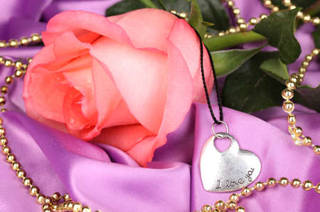 Beautiful pink rose with heart pendant photo