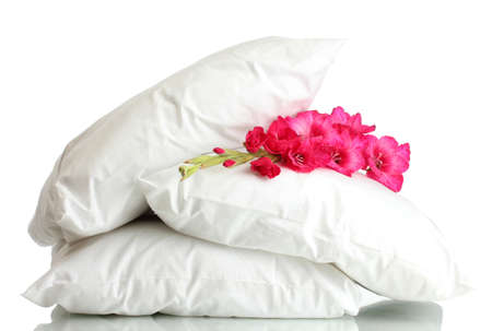 pillows and flower, isolated on white photo