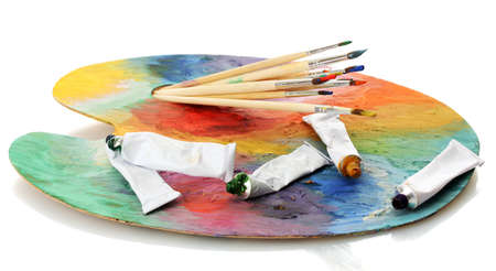 acrylic paint, paint tubes and brushes on wooden palette, isolated on white Stock Photo - 15964661