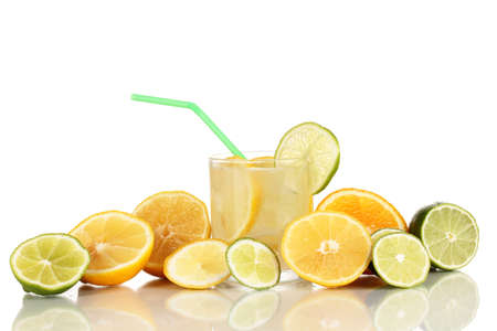 Citrus lemonade in glass of citrus around isolated on white Stock Photo - 15964602