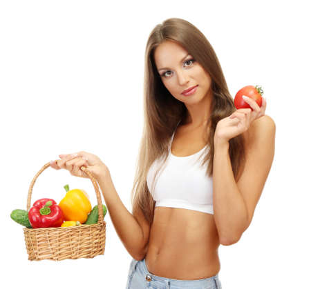 beautiful young woman with vegetables in basket, isolated on white Stock Photo - 16346519