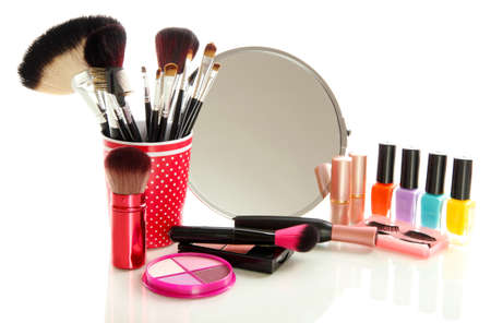beauty products: cosmetics near mirror isolated on white