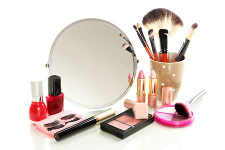 look make: cosmetics near mirror isolated on white