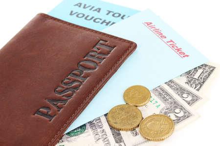 avia: Passport and ticket close-up