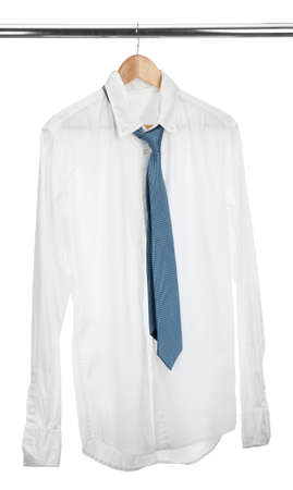 shirt with tie on wooden hanger isolated on white Stock Photo - 16025188