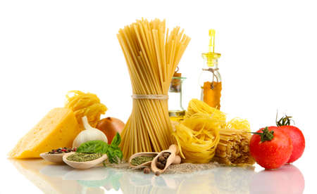 Pasta spaghetti, vegetables, spices and oil, isolated on white Stock Photo - 16036413