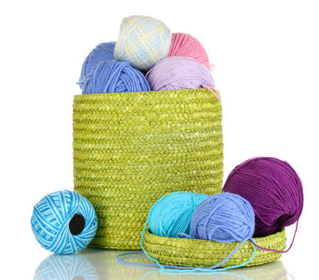 Colorful yarn for knitting in green basket isolated on white photo