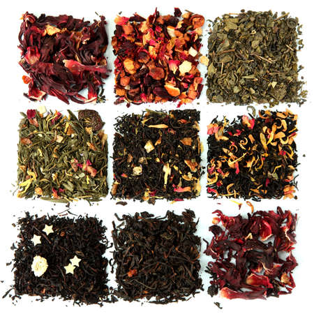 assortment of dry tea, isolated on white Stock Photo