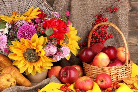 country life: Colorful autumn still life with apples Stock Photo