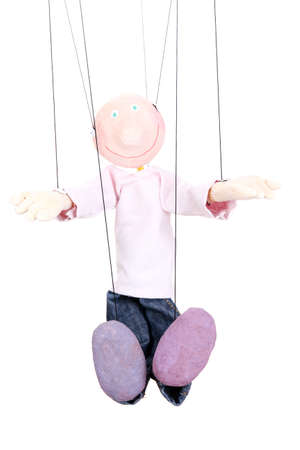 Wooden puppet isolated on white Stock Photo - 16035724