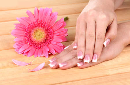 Woman hands with french manicure and flower on wooden background Stock Photo - 16036917