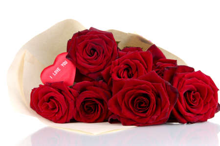 reciprocity: Beautiful bouquet of red roses with valentine isolated on white