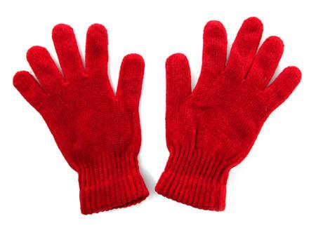 guantes: mujer de punto guantes, aislado en blanco