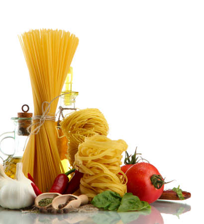 Pasta spaghetti, vegetables, spices and oil, isolated on white Stock Photo - 16083312