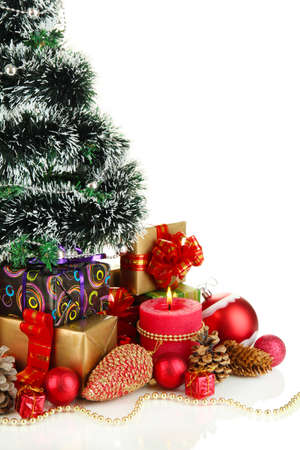 Composition from Christmas decorations isolated on white Stock Photo - 16087147