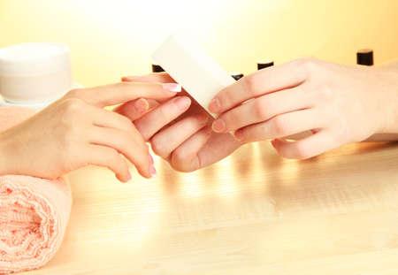 Manicure process in beauty salon, close up Stock Photo - 16086925