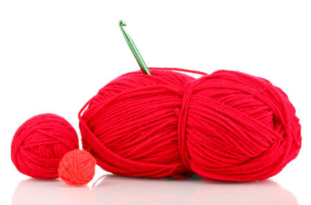 Red knittings yarns isolated on white Stock Photo