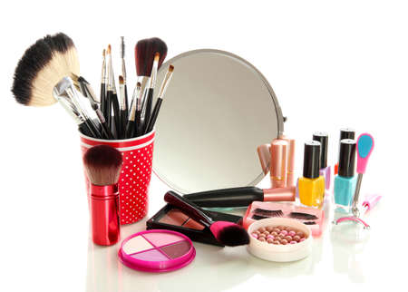 cosmetics near mirror isolated on white photo