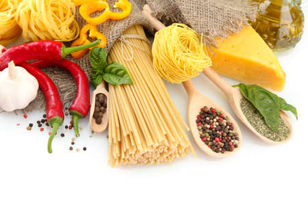 Pasta spaghetti, vegetables and spices, isolated on white Stock Photo - 16107800