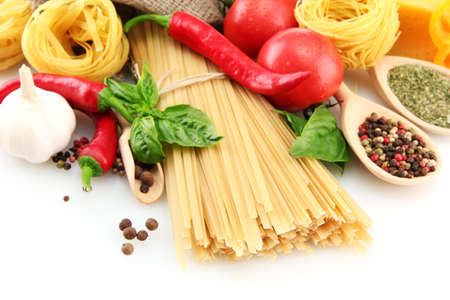 Pasta spaghetti, vegetables and spices, isolated on white Stock Photo - 16107646