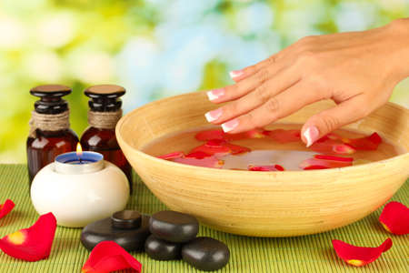 spa treatments for female hands,  on green background photo