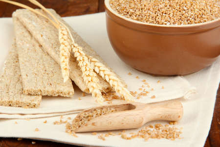 Wheat bran on the table photo