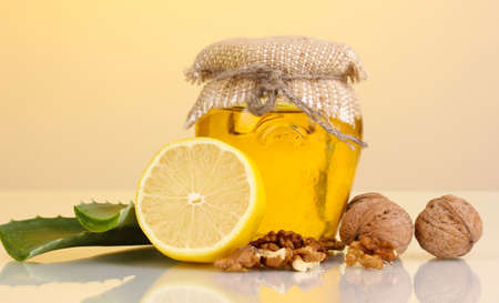 convalesce: Healthy ingredients for strengthening immunity on yellow background