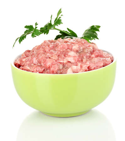 Bowl of raw ground meat isolated on white Stock Photo - 16107317