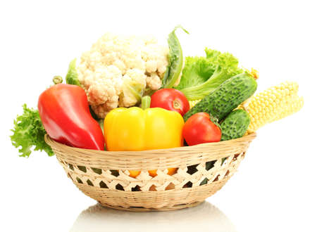 Fresh vegetables in basket isolated on white Stock Photo - 16132067