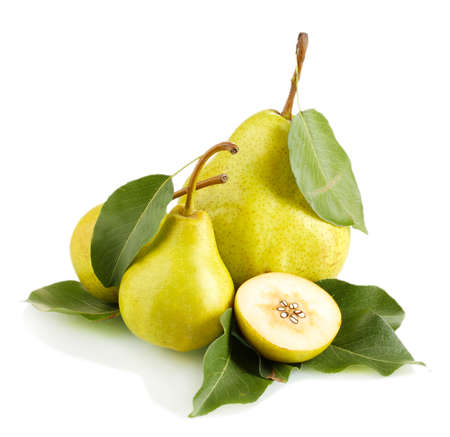 Juicy flavorful pears isolated on white Stock Photo