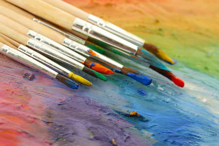 acrylic paint and brushes on wooden palette Stock Photo - 16132451
