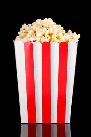 classic box of popcorn isolated on black