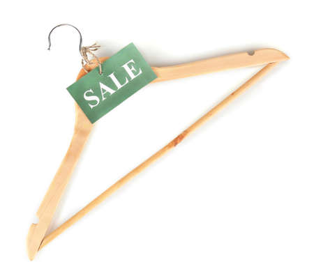 coathanger: coat hanger with sale tag isolated on white background Stock Photo