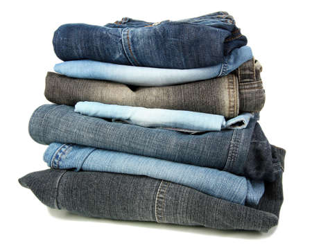 Lot of different jeans isolated on white Stock Photo - 16132613
