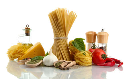 Pasta spaghetti, vegetables, spices and oil, isolated on white Stock Photo - 16131951