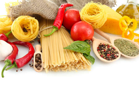 Pasta spaghetti, vegetables and spices, isolated on white Stock Photo - 16132356