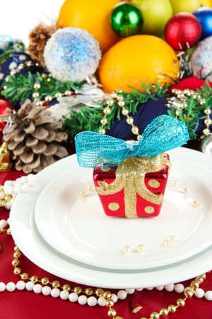 Serving Christmas table on white background Stock Photo - 16132461