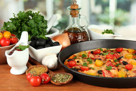 colorful composition of delicious pizza, vegetables and spices on wooden background close-up Stock Photo - 16132429