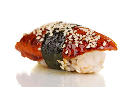 delicious sushi isolated on white photo