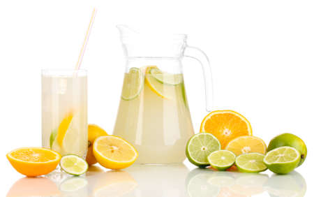 Citrus lemonade in pitcher and glass of citrus around isolated on white Stock Photo - 16131766