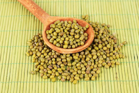 Mung beans over wooden spoon on color background photo