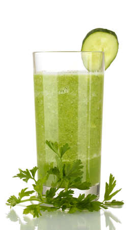 organic drinks: Green vegetable juice isolated on white