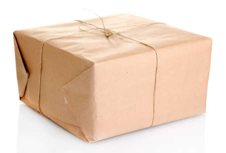 delivery package: parcel box with kraft paper, isolated on white