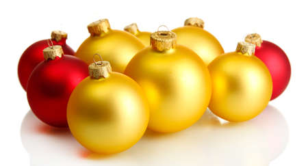 beautiful christmas balls, isolated on white Stock Photo - 16141183