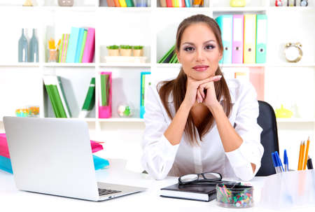 Young pretty business woman with notebook in office Stock Photo - 16346039