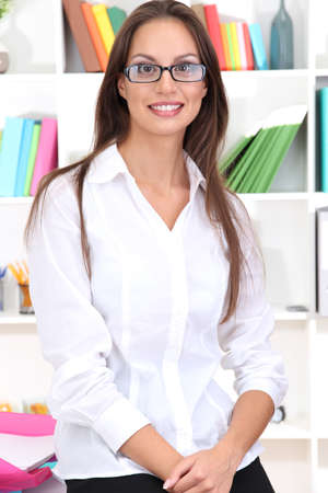 young business woman at office Stock Photo - 16345389
