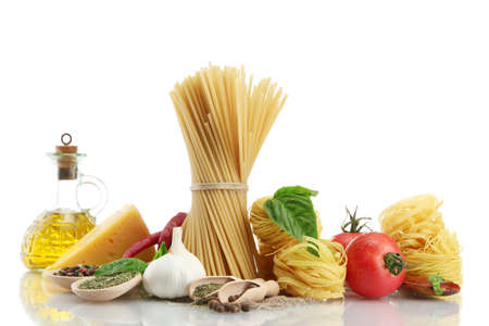 Pasta spaghetti, vegetables, spices and oil, isolated on white Stock Photo - 16219353