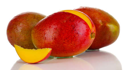 Ripe appetizing mango isolated on white Stock Photo - 16219396