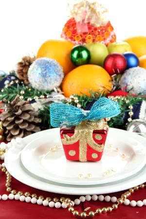 Serving Christmas table on white background Stock Photo - 16220101