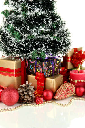 Composition from Christmas decorations isolated on white Stock Photo - 16220606